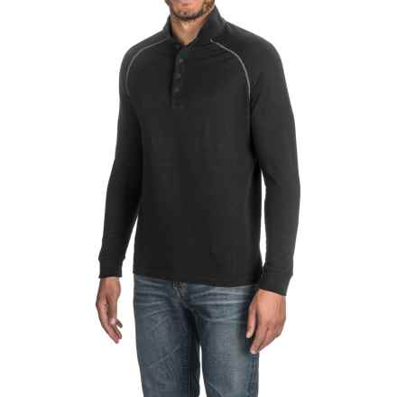 Agave Warren Henley Shirt - Supima® Cotton, Long Sleeve (For Men) in Caviar Black - Closeouts