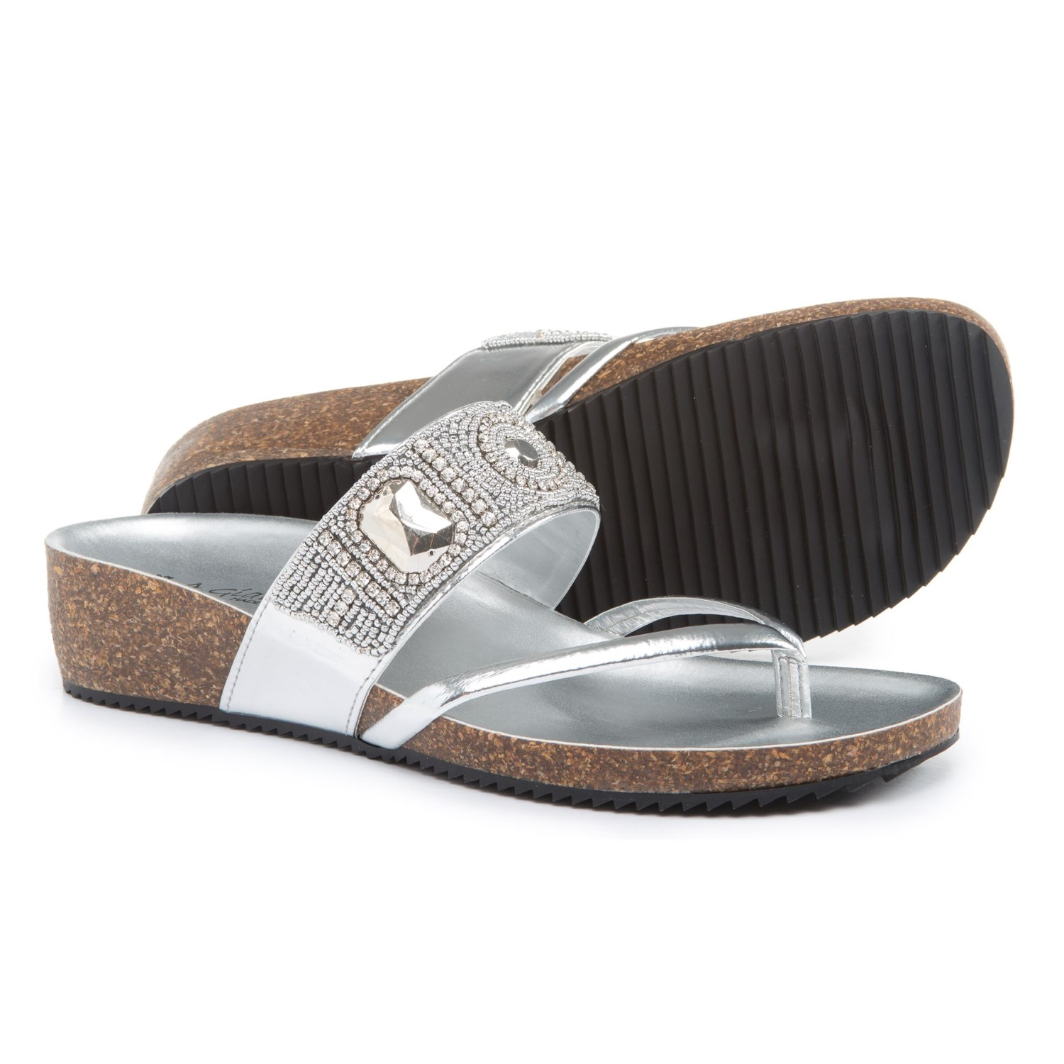 A.Giannetti Made in Italy Beaded Band Wedge Sandals (For Women) in Silver  ...