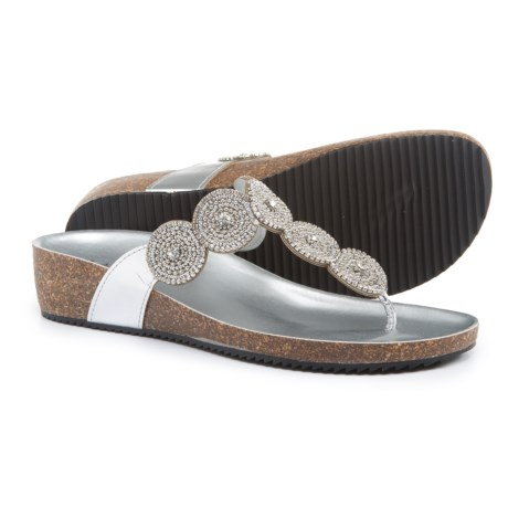 A.Giannetti Made in Italy Circle Beaded Wedge Sandals (For Women) in Silver