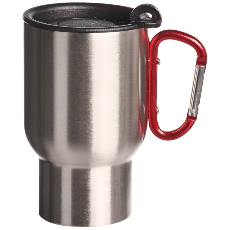 AGS Carabiner Stainless Steel Travel Mug - 14 fl.oz. in Red