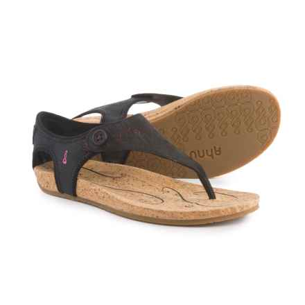 Ahnu Serena Sandals - Leather (For Women) in Black - Closeouts