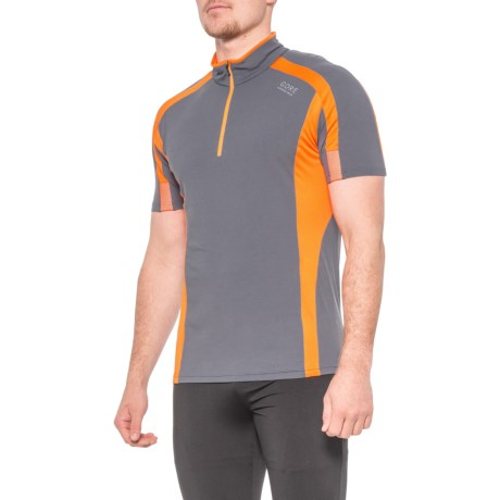 Air Shirt - Zip Neck, Short Sleeve (For Men) - GRAPHITE GREY/BLAZE ORANGE (S ) thumbnail