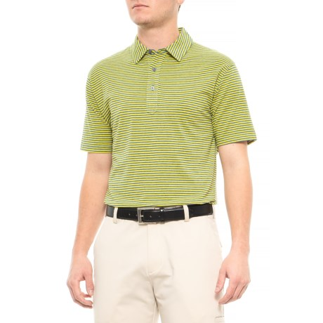 Image of Air Stretch Striped Polo Shirt - Short Sleeve (For Men)