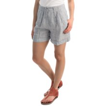AJ Andrea Jovine Cuffed Linen Shorts (For Women) in Navy/White - Overstock