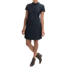 AJ Andrea Jovine Denim Dress - Short Sleeve (For Women) in Dark Blue - Overstock