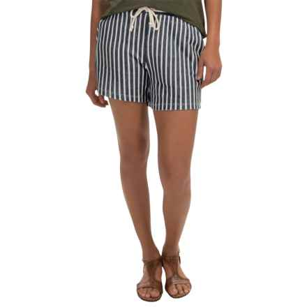 AJ Andrea Jovine French Terry Shorts (For Women) in Navy/White - Closeouts