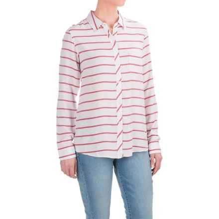 AJ Andrea Jovine Yarn-Dyed Shirt - Long Sleeve (For Women) in White/Red - Closeouts