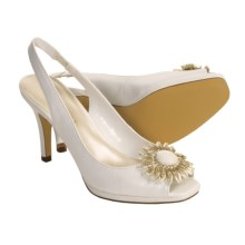 AK Anne Klein Ami Peep-Toe Heel Shoes - Sling-Backs (For Women) in White - Closeouts