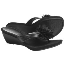 AK Anne Klein Catrin Wedge Thong Sandals (For Women) in Black Sheep Nappa - Closeouts
