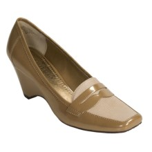 AK Anne Klein Santiago Loafer Shoes - Wedge Heel (For Women) in Tan Patent - Closeouts