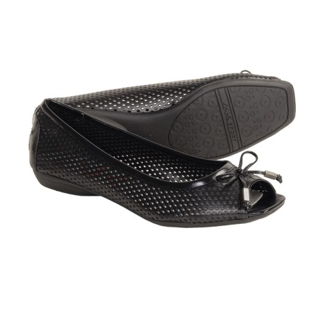 AK Anne Klein Sport Illusion Mesh Shoes - Leather, Flats (For Women) in Black