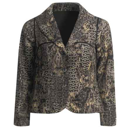 A.K.A. Woman Textured Paisley Jacket - Swing (For Women) in Black Multi - Closeouts