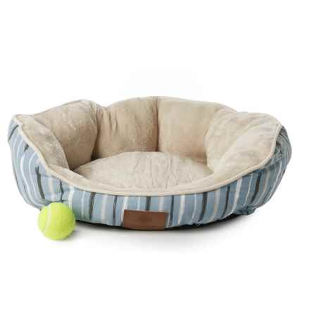 "AKC Brushstroke Pattern Clam Dog Bed - 23x20"" in Blue - Closeouts"