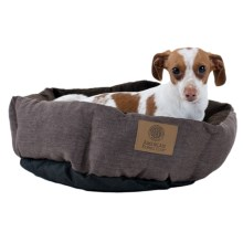 "AKC Burlap Cuddle Cup Dog Bed - 19"" Round in Brown - Closeouts"