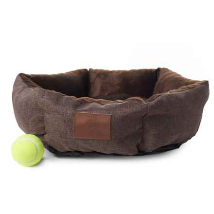 "AKC Burlap Cuddler Pet Bed - 19"" Round in Brown - Closeouts"