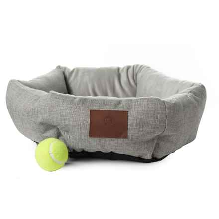 "AKC Burlap Cuddler Pet Bed - 19"" Round in Gray - Closeouts"