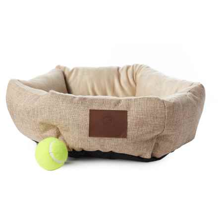 "AKC Burlap Cuddler Pet Bed - 19"" Round in Tan - Closeouts"