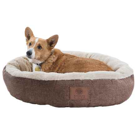"AKC Burlap Faux-Fur Dog Bed - 28"" Round in Brown - Closeouts"