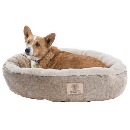 "AKC Burlap Faux-Fur Dog Bed - 28"" Round in Tan - Closeouts"