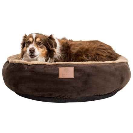 "AKC Corduroy Round Dog Bed - 31"" in Brown - Closeouts"