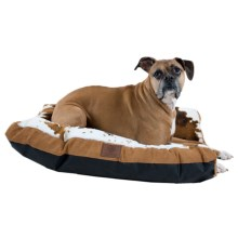 "AKC Cow Print Gusset Dog Bed - 27x36"" in Tan - Closeouts"
