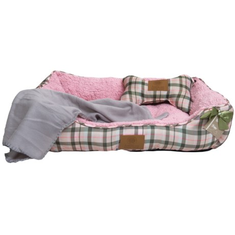 AKC Cuddler Dog Bed Set - 3-Piece in Pink