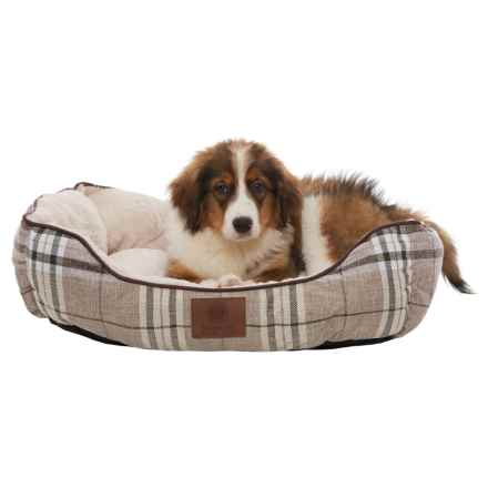 "AKC Cuddler Plaid Dog Bed - 28"" in Brown - Closeouts"