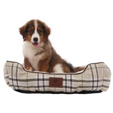 "AKC Cuddler Plaid Dog Bed - 28"" in Tan - Closeouts"