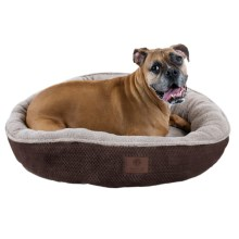 "AKC Deluxe Pixel Tufted Dog Bed - 31"" Round in Brown - Closeouts"