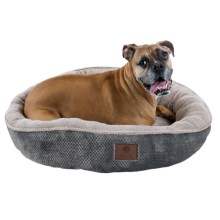 "AKC Deluxe Pixel Tufted Dog Bed - 31"" Round in Gray - Closeouts"