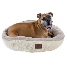 "AKC Deluxe Pixel Tufted Dog Bed - 31"" Round in Tan - Closeouts"