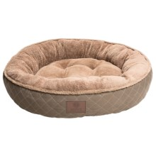 "AKC Diamond-Stitched Dog Bed - 31"" Round in Taupe - Closeouts"