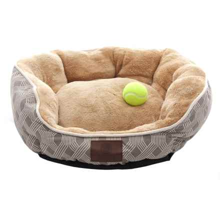 "AKC Diamond Stripe Dog Bed - 23x20"" in Taupe - Closeouts"