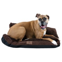 "AKC Fur Texture Gusset Dog Bed - 27x36"" in Brown - Closeouts"