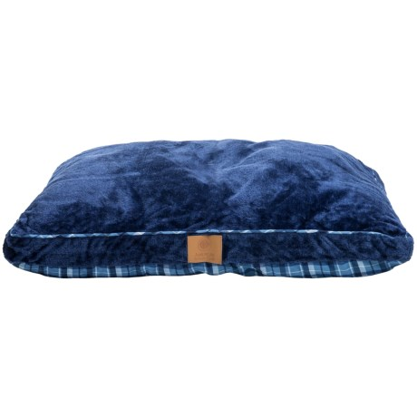 AKC Gusset Pet Bed in Blue/Plaid