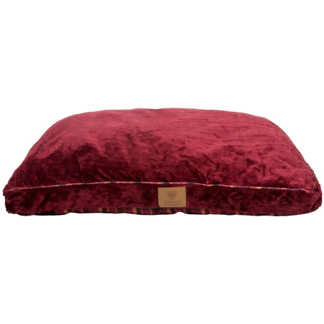 AKC Gusset Pet Bed in Red/Plaid