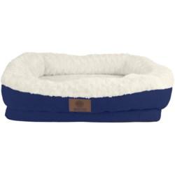 "AKC Orthopedic Box Snuggle Dog Bed - 6x30x32"", Large in Tan/White"