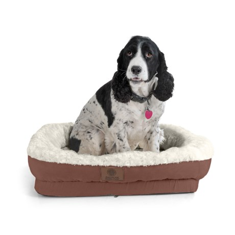 "AKC Orthopedic Box Snuggle Dog Bed - 6x30x32"", Large in Brown/White"