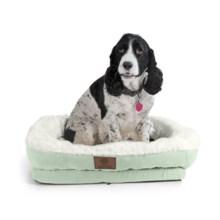 "AKC Orthopedic Box Snuggle Dog Bed - 6x30x32"", Large in Green/White - Closeouts"