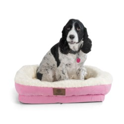 AKC Orthopedic Box Snuggle Dog Bed - Large in Pink/White