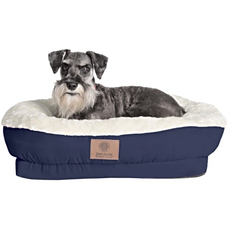 AKC Orthopedic Box Snuggle Dog Bed - Medium in Blue/White