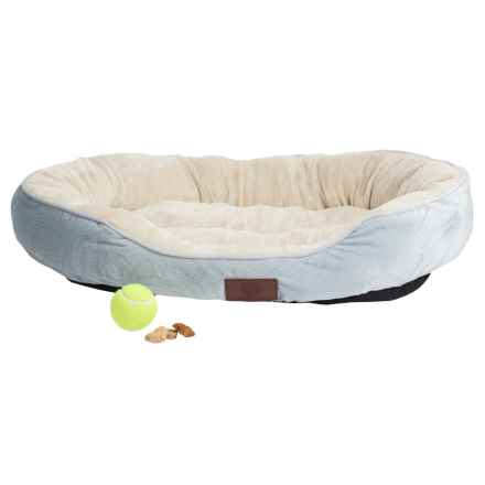 "AKC Oval Cuddler Dog Bed - 30x23"" in Light Blue - Closeouts"