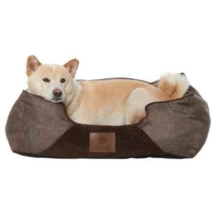 "AKC Pixel and Burlap Orthopedic Dog Bed - 25x21"" in Brown - Closeouts"