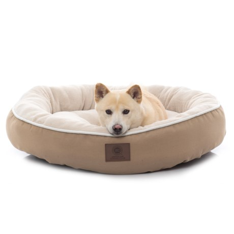 """AKC Solid Deluxe Round Dog Bed - 31"""" in Tan"""