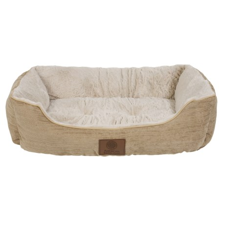 "AKC Spring Mason Cuddler Dog Bed - 28x20"" in Tan,"