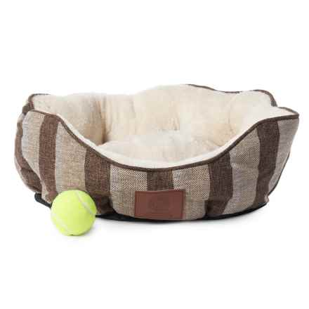 AKC Stripe Burlap Clam Dog Bed - 19x17 in Brown - Closeouts