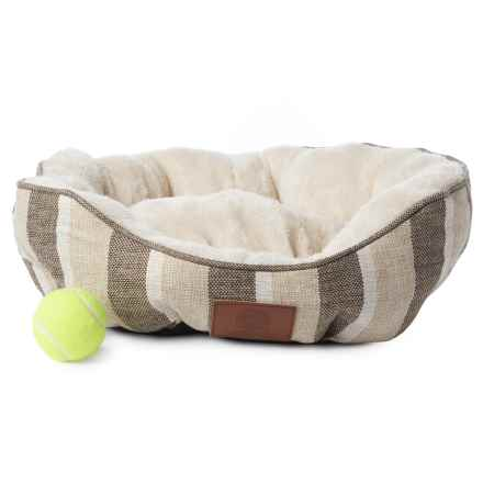 AKC Stripe Burlap Clam Dog Bed - 19x17 in Tan - Closeouts