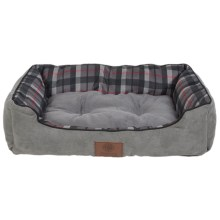 "AKC Suede and Plaid Cuddle Dog Bed - Medium, 28x20"" in Gray - Closeouts"