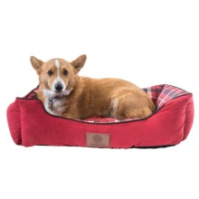 "AKC Suede and Plaid Cuddle Dog Bed - Medium, 28x20"" in Red - Closeouts"