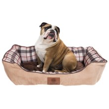 "AKC Suede and Plaid Cuddle Dog Bed - Medium, 28x20"" in Tan - Closeouts"